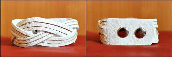 kožený náramok biely prepletaný