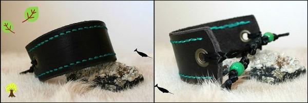 náramok kožený čierny