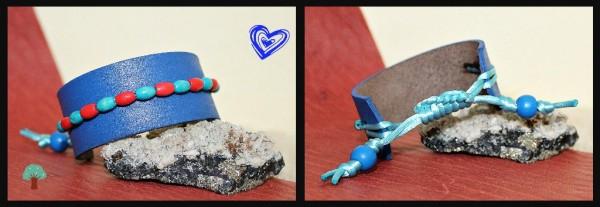 modrý kožený náramok