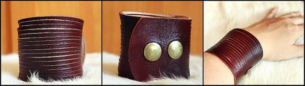 dvojfarebný kožený náramok
